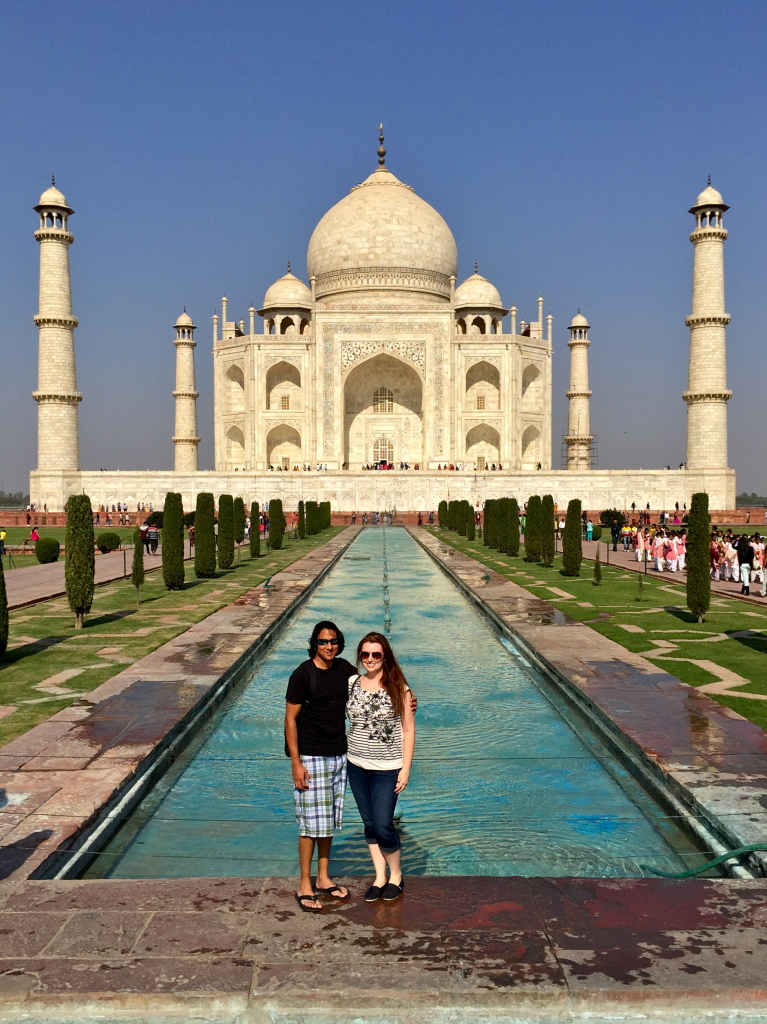 Rupak and Tabitha in front of the Taj Mahal