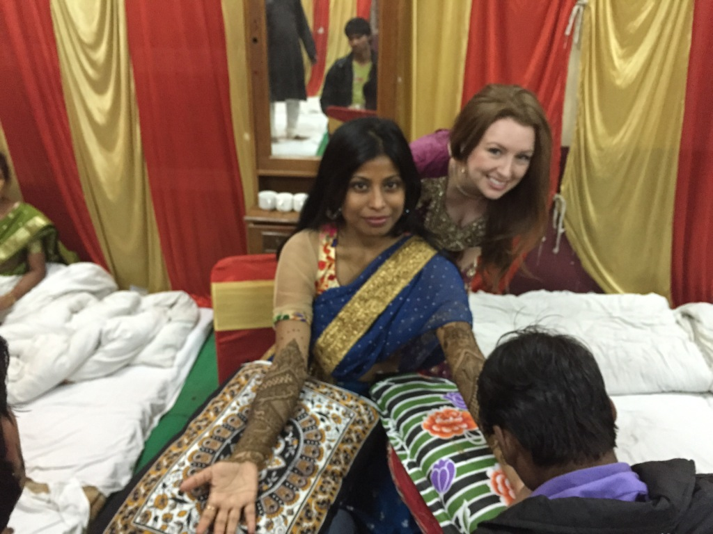 The beautiful bride Joyeeta getting her henna applied
