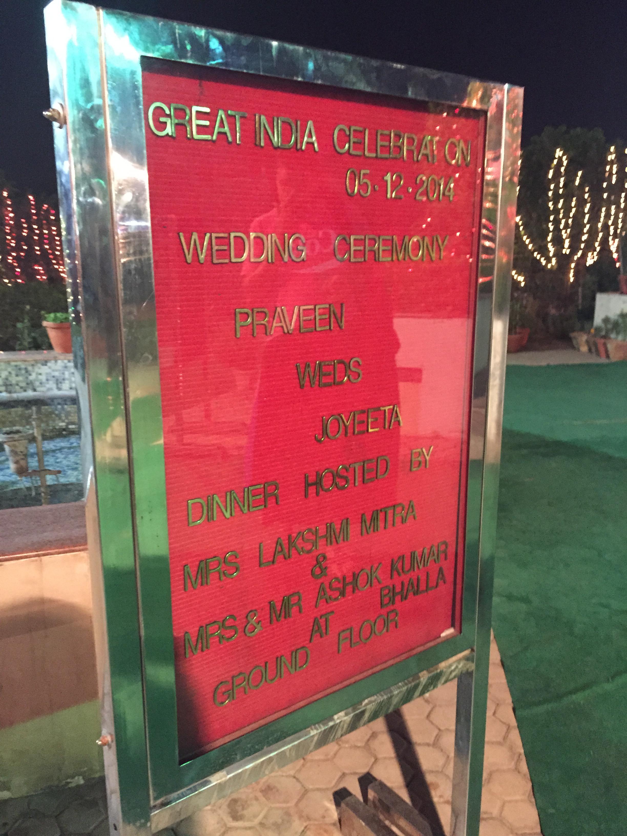 Sign outside wedding venue