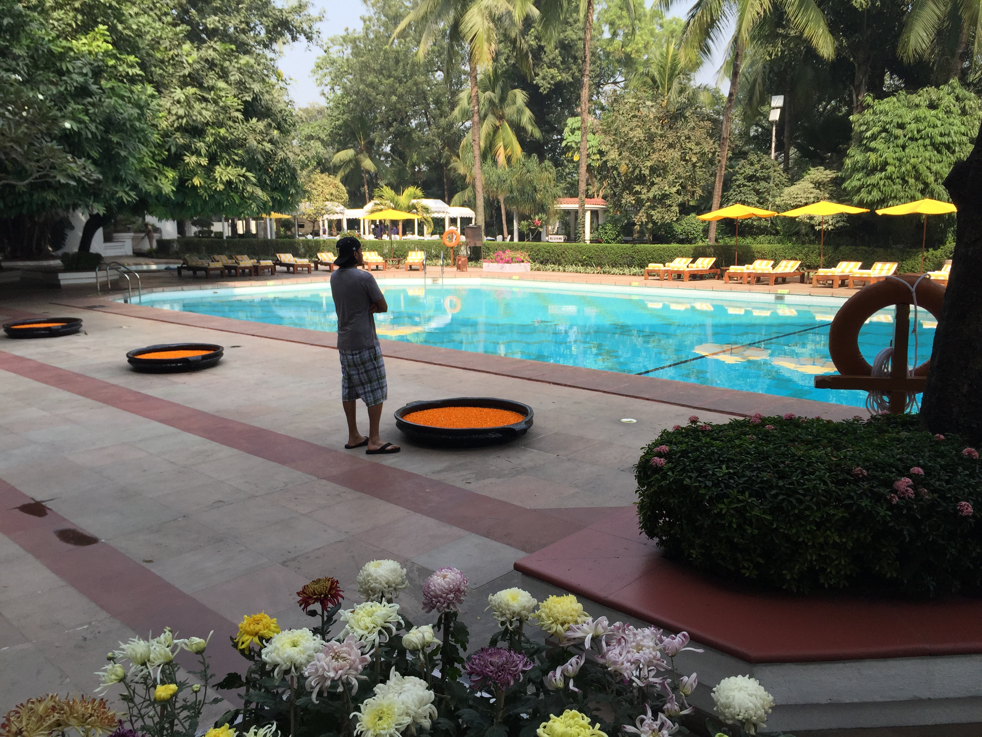 Inspecting the Taj Bengal pool