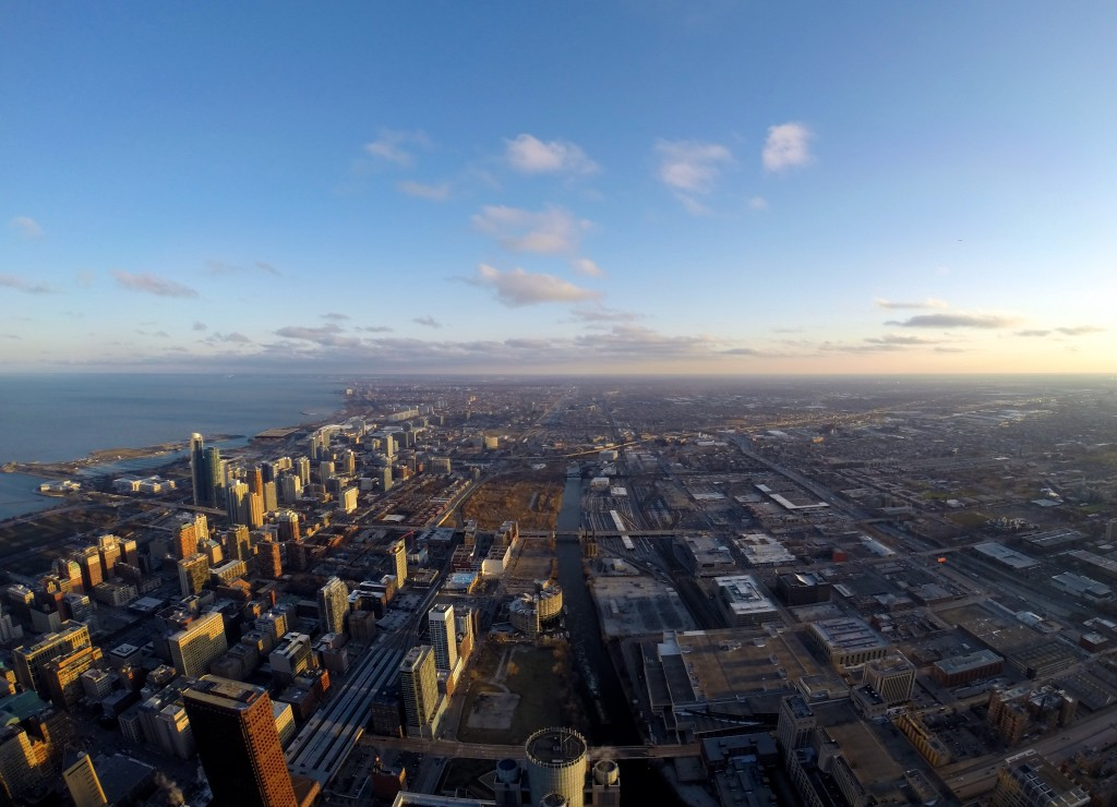 Southern view of Chicago from Willis Tower Skydeck