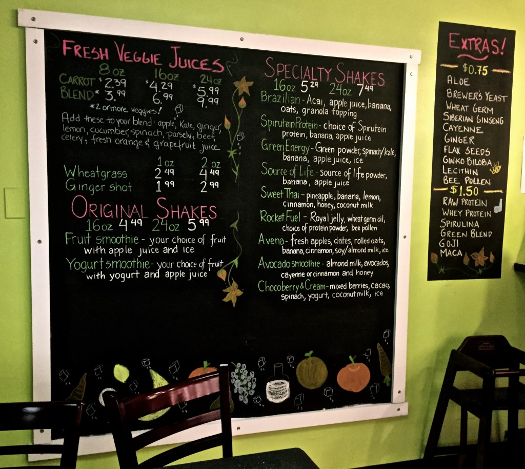 Smoothie/Juice menu