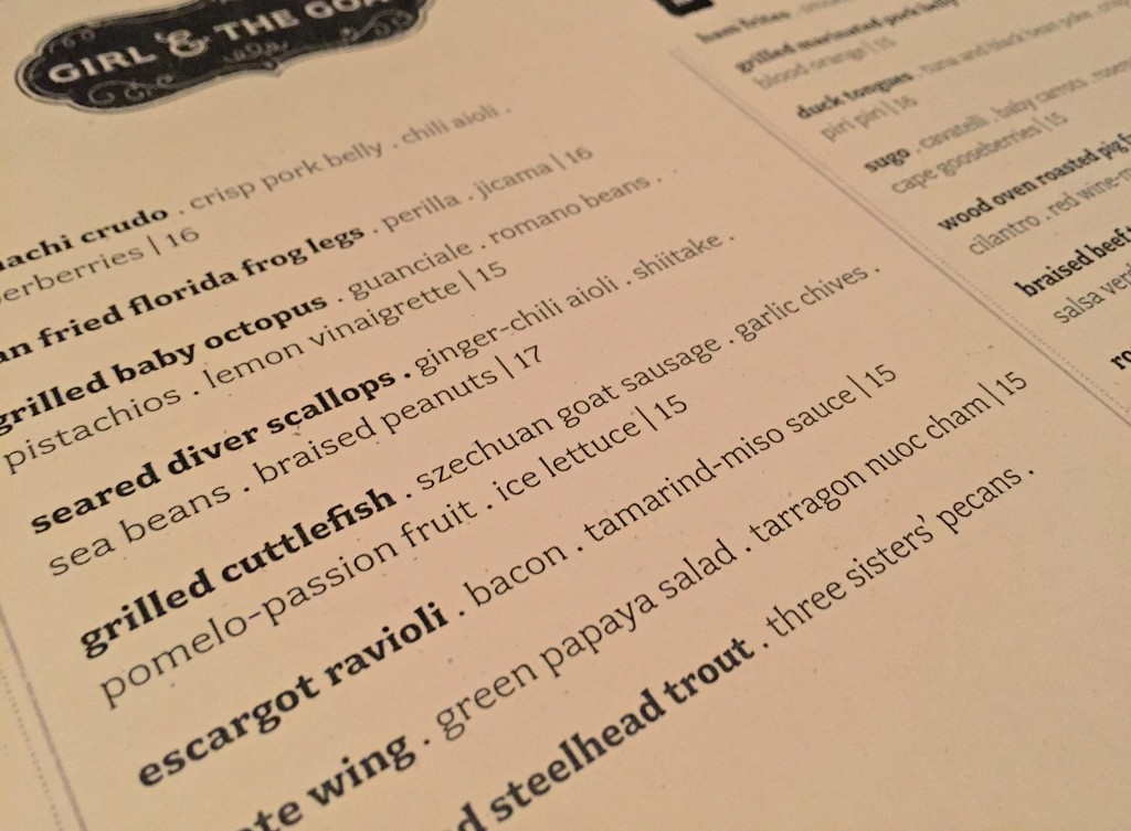 Fish menu, Girl & The Goat, Chicago