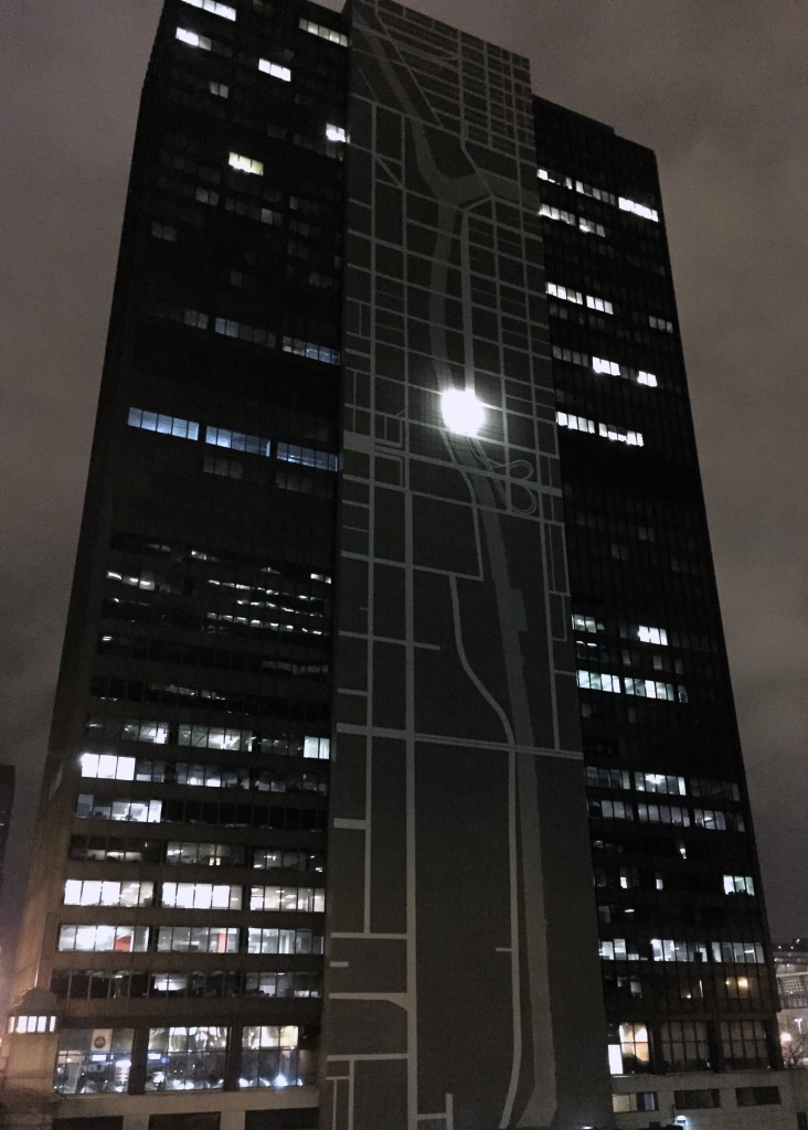 Super cool building with a map of Chicago on the side