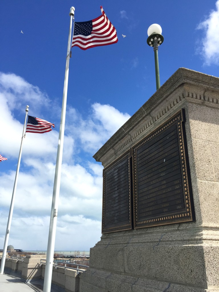 Plaque commemorating Medal of Honor recipients outside Soldier Field