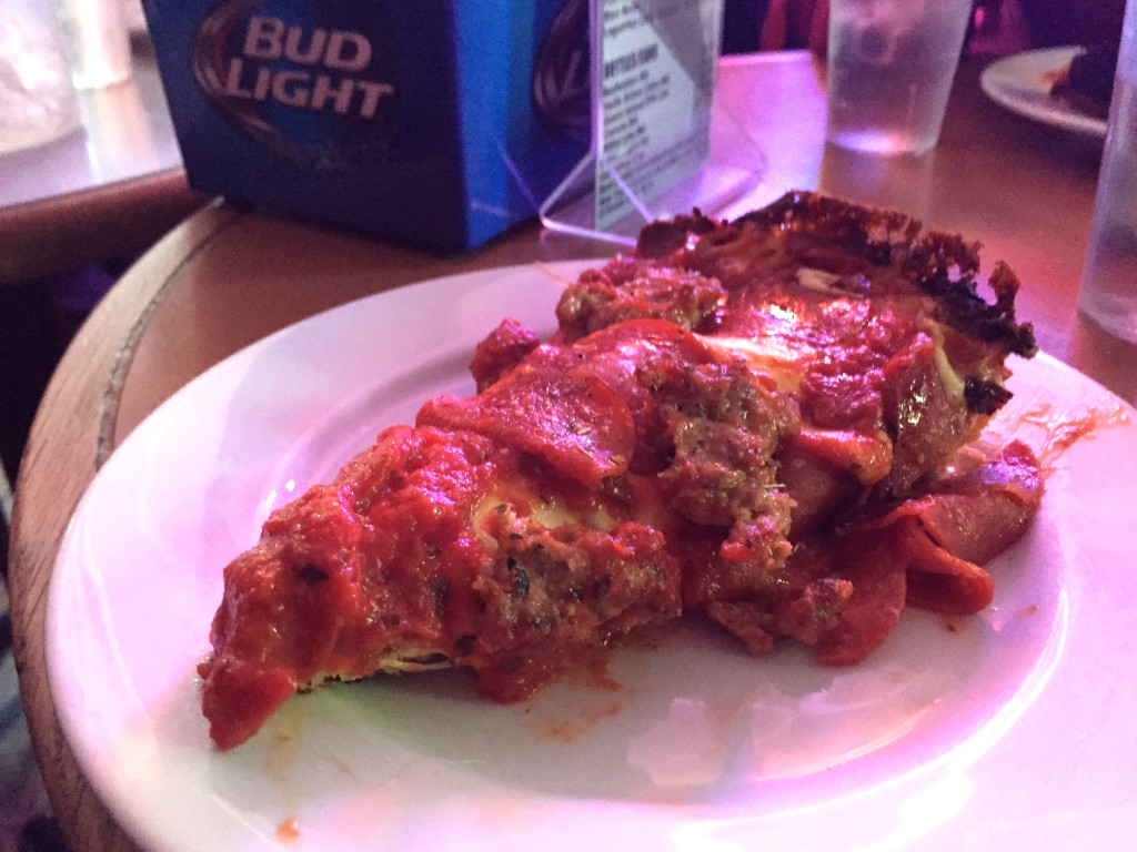 Meat lover's pizza at Pequod's