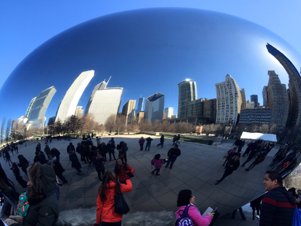 Skyline reflection in the Bean