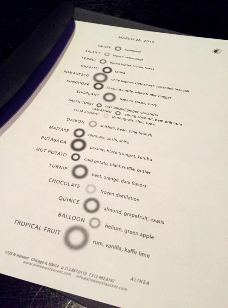 Alinea vegetarian menu
